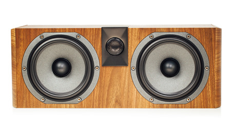 home theater: central channel speaker, home theater audio component, isolated on white Stock Photo
