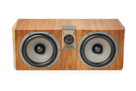 amplification: central channel speaker, home theater audio component, isolated on white Stock Photo