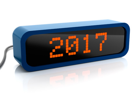 led display: Led display of 2017 new year, 3d render, isolated on white