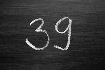 number thirty nine enumeration written with a chalk on the blackboard