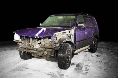 damaged: car damaged in winter accident Stock Photo