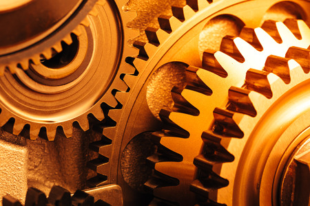 engine gear wheels, industrial background Stock Photo
