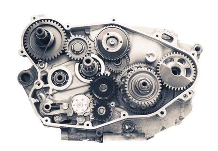 engine cross section with gear wheels, isolated on white Stock Photo