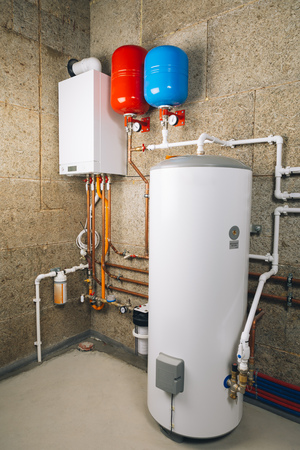 independent heating system in boiler-room Stockfoto