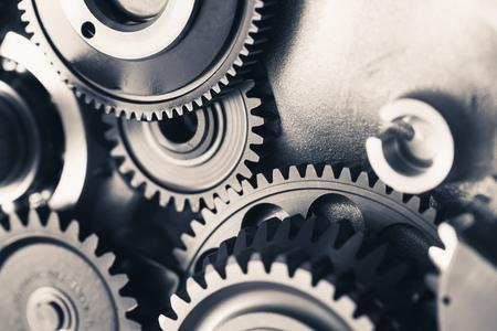 engine gear wheels, industrial background Foto de archivo