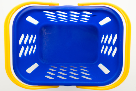 empty blue shopping basket, top view