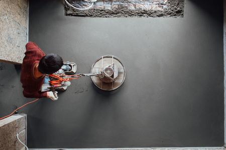 concrete floor final grinding, top view Standard-Bild