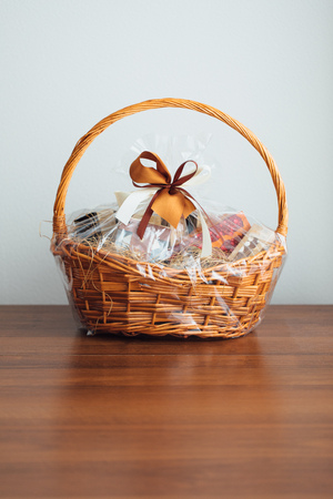 gift basket on grey background Stock fotó