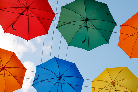 colorful umbrellas in the sky