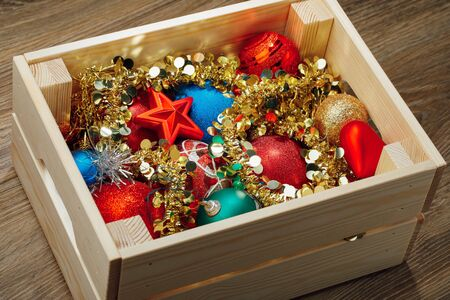 christmas decorations stored in wooden box stock photo 89999282 - Wooden Box Christmas Decorations
