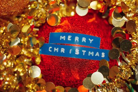 Merry Christmas title decoration ball sphere Stock Photo