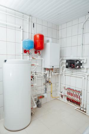 modern independent heating system in boiler room Standard-Bild
