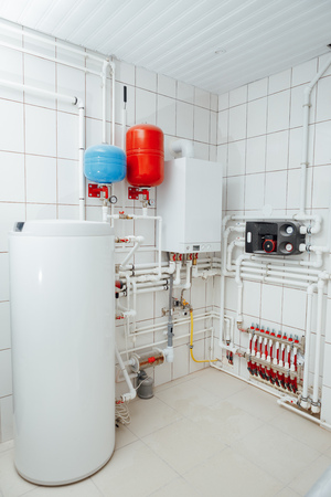 modern independent heating system in boiler room Archivio Fotografico