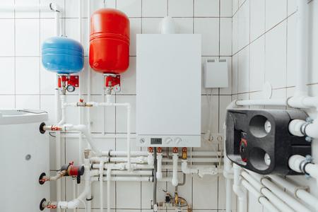 modern independent heating system in boiler room Foto de archivo