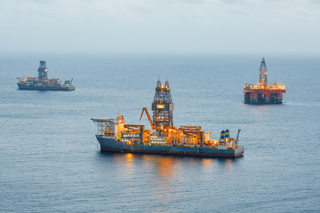 offshore oil platform and gas drillship with illumination
