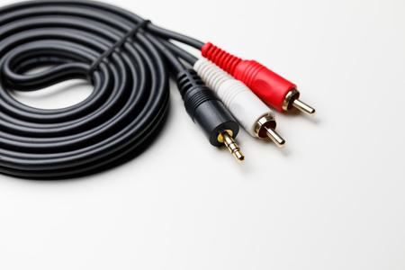 RCA mini jack audio cable, white background Stock fotó