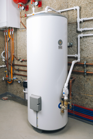 water heater in modern boiler room 免版税图像