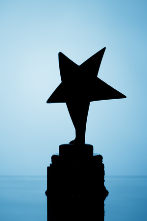 star trophy silhouette, blue background Фото со стока