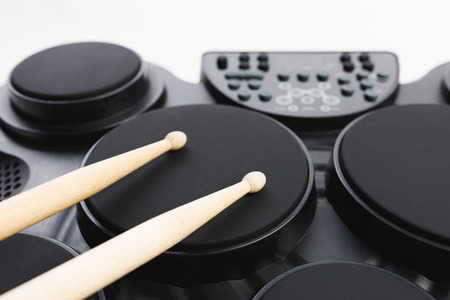 electronic drums portable music device, close-up view