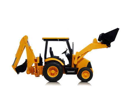 backhoe tractor toy, isolated on white