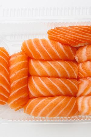 sashimi sushi set in a plastic box container Фото со стока - 121849335