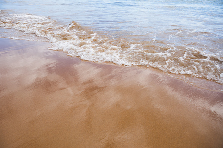 wet sand beach background and sea water