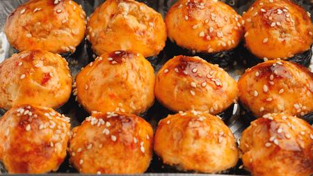 baked sushi rolls, close-up view Reklamní fotografie - 123075619