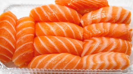 sashimi sushi set in a plastic box container Фото со стока - 123075643