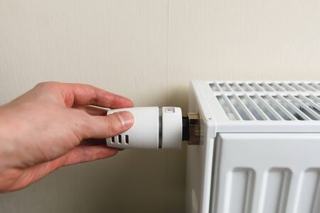 hand controls thermostatic knob of heating radiator