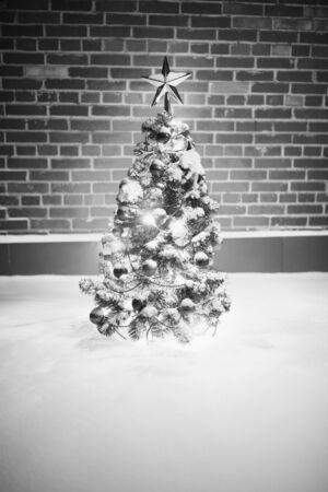 monochrome Christmas tree with festive lights in snow outdoors, brick wall background
