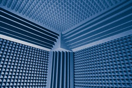 acoustic foam absorber and bass traps for sound dampering blue background