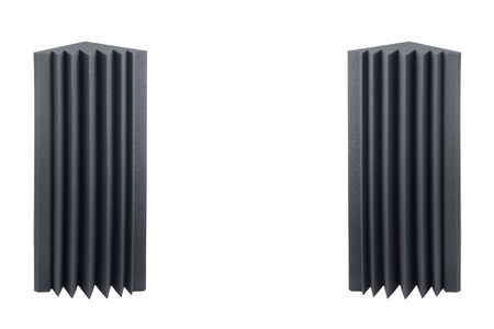 acoustic foam bass traps for sound dampering, isolated on white