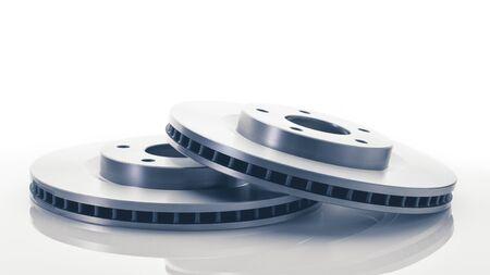car brake discs on white background