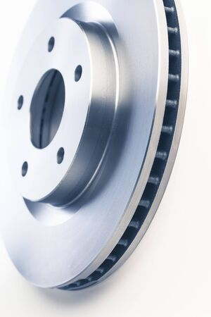 car brake discs on white background