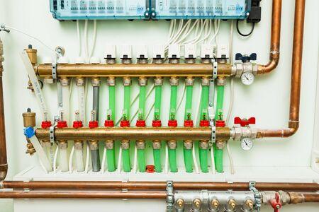 underfloor heating control system in boiler-room