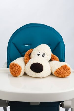 dog toy on high chair for baby