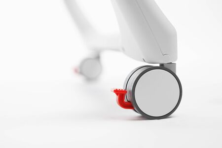 high chair plastic wheel with brake, close-up view