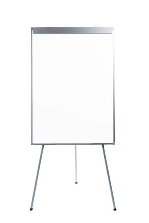 presentation flipchart easel stand board, isolated on white Stock Photo
