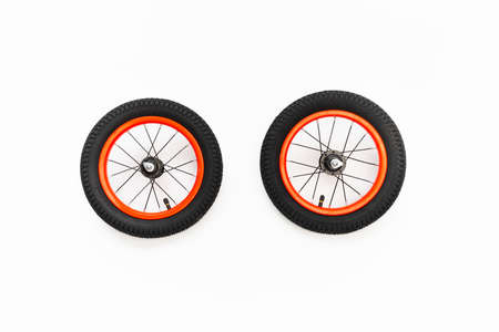 kids bicycle wheels with spokes, white background