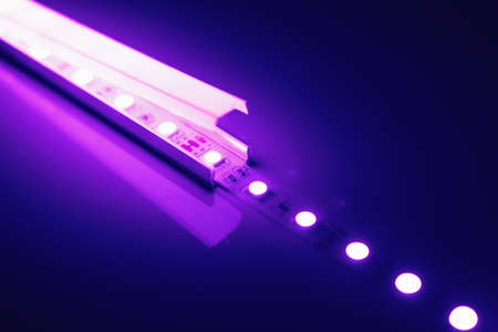 led strip purple light in aluminum channel diffuser