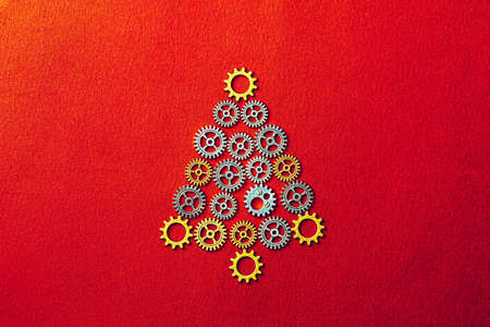 Christmas Tree gears on red textured background