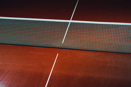 table tennis blue net, close-up view