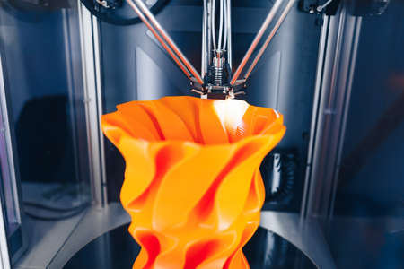 3d printer head in action, close-up view