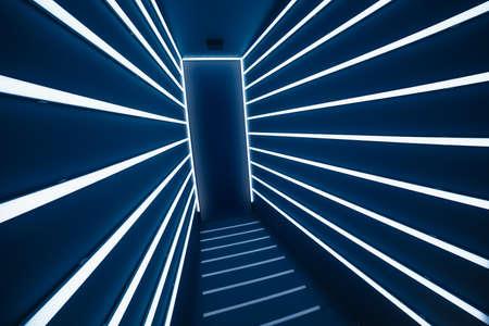abstract light strokes corridor and door exit