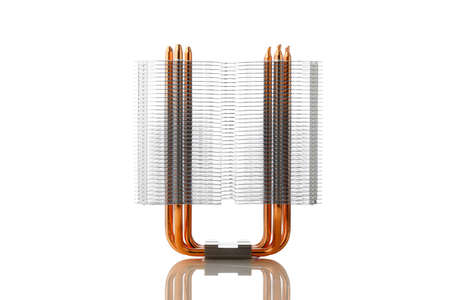 heat sink of cpu tower air cooler, isolated on white Banque d'images