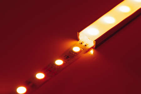 led strip orange light in aluminum channel diffuser