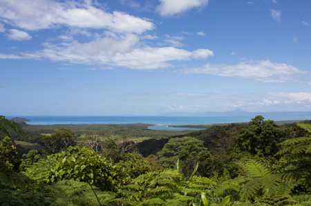 daintree: Looking out of the Rainforest straight at the Ocean and the Mouth of the Daintree River in Queensland, Australia. Stock Photo