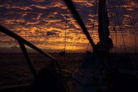 sailingboat: Colorful Sunset ankered down at Lizard Island, Queensland, Australia