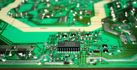 PCB with several SMD elements Stock Photo