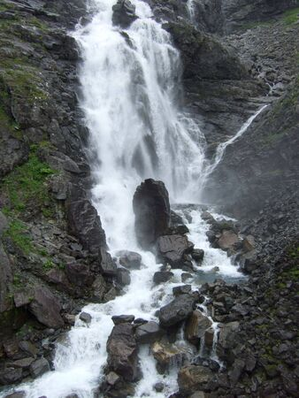 Small waterfall near Trollstigen road. Romsdal, Norway Stock Photo